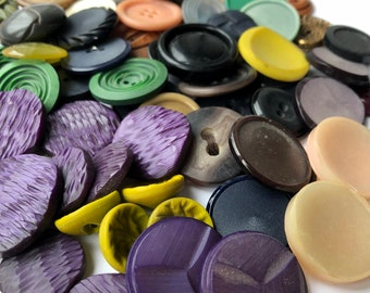 Lot of 70 Vintage Buttons Sewing Crochet Knitting Assorted Colors and Styles Plastic Celluloid Wood Metal Unusual Colorful