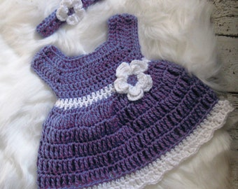 Crochet Baby Girl Dress Set Purple Baby dress Newborn Baby Set Preemie Baby Dress Lavender Baby Dress Baby Girl Knit Dress  Baby Girl Outfit
