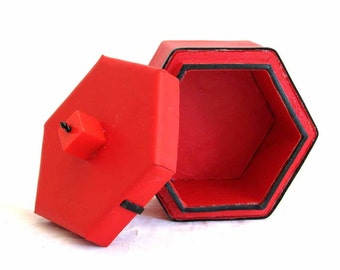 Red Leather Box with Bakelite Cube