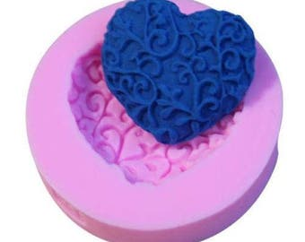 Filigree Heart Mold Candy Chocolate Soap Ice Crayon Candle Fondant Baking Supplies Jenuine Crafts