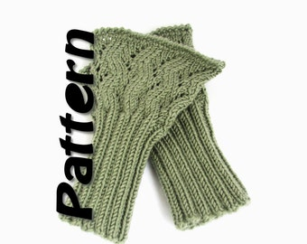 Lacy cuffs knit pattern, zigzag handwarmers pdf, fingerless mitts instant digital download, easy written instructions, knit your own mitts