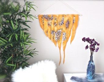 Orange Wall Tapestry / Nuno Felted Wall Hanging / Boho Decor / Fiber Art / Tapestries