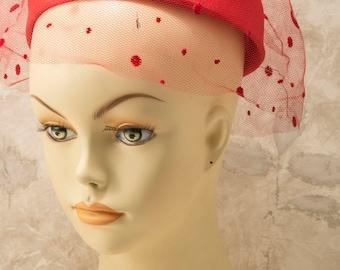 Bright red womens ring, halo, hat, w/polka dot webbing, 1960s, 1970s, retro, boho, midcentury, playful