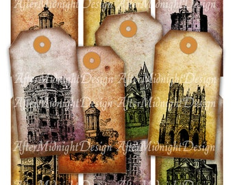 TAGS 66 Vintage tags Grungy Shabby Architectural Buildings Stamps