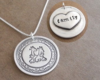 Personalized Giraffe Family Necklace, Extra Large Heart Monogram, Mom, Dad, Two Babies, Fine Silver, Sterling Silver Chain, Made To Order