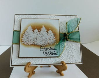 Handmade Christmas Wishes Card / Embossed Pine Branches Pine Tree Card, Holiday Greetings Card, Embossed Pine, Season filled with Love