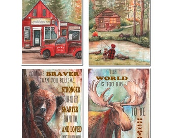 Lumberjack Nursery Buffalo Plaid Woodland Wall Decor, Personalized Set Of 4, Boy Fishing With Dog, Bear, Moose, Log Cabin, Vintage Red Truck