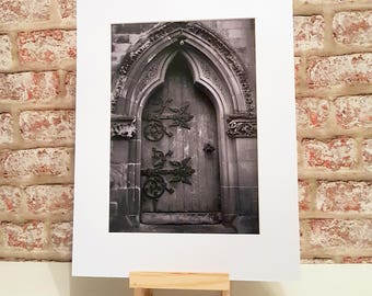Gothic Cathedral, Old Church Door, The Cathedral Door , Gothic decor, Mounted Print A3 A4 A5