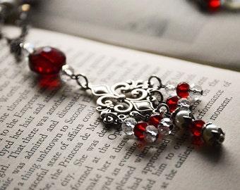 French Fleur de Lis Garnet Red Necklace, Renaissance, Ruby Glass,Pearl Necklace ,Fleur de Lys, Gift for Her, Valentine Jewelry, Romantic