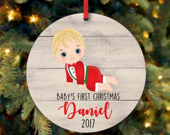 Baby Boy First Christmas Ornament, Personalized Christmas Ornament, Custom Ornament, Blonde Baby Boy Christmas Ornament (0106)