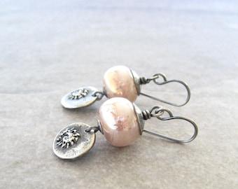 blush pink earrings, pink dangle earrings, oxidized silver, pmc silver, ocean earrings, lampwork glass earrings