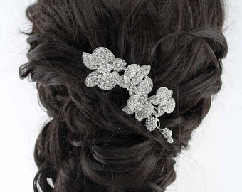Rhinestone Bridal Hair Comb, Beach Wedding Hair Accessory, Crystal Flower Hair Clip, Silver Bridal Hairpiece, Wedding Headpiece Hair Jewelry