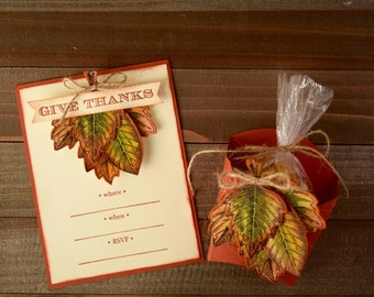 Fall, Leaf Invitations and Treat Boxes, Thanksgiving Invitations and Cordinating Treat Boxes, Thanksgiving Table Treats (Set of 12)