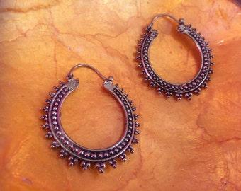 Tribal brass hoop earrings