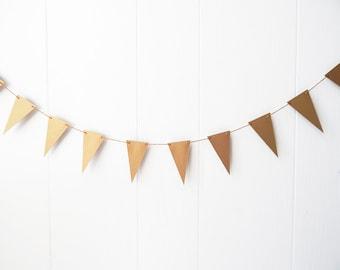 Gold Triangle Flag Garland / Nusery Decor / Photo Prop / Party Decor / Bunting / Holiday Decor / Wedding Decor