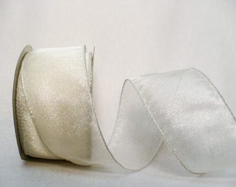 "Semi sheer off white wedding ribbon, cream wired ribbon, semi sheer off white 2"" x 5 yards"