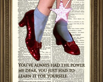 """WIZARD OF OZ Dictionary Art: Ruby Red Slippers and Glinda 'You've Always Had the Power' - Vintage Movie Book Page Print (8 x 10"""")"""