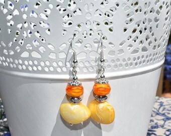 Orange and yellow beaded earrings