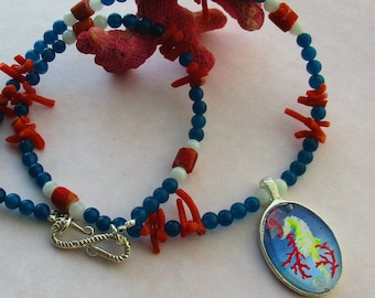 Seahorse necklace on Blue Agate