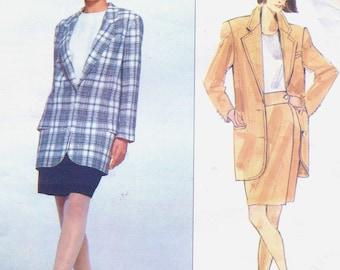 90s Perry Ellis Womens Boyfriend Jacket & Pencil Skirt Vogue Sewing Pattern 2649 Size 14 16 18 Bust 36 38 40 UnCut Vogue American Designer