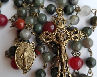 Traditional Rosary| 5 Decade Rosary|Bloodstone| 6mm decade and 8mm Our Fatther Bloodstone beads|bronze connector and crucifix