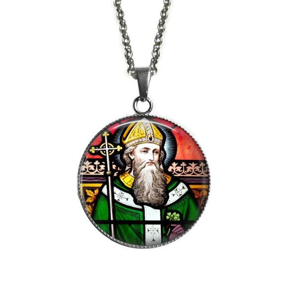 Saint Patrick Pendant in stainless steel-Catholic Jewelry, Catholic Necklace -Stainless Steel setting and chain - Irish Catholic Gift