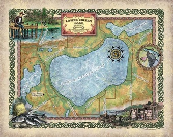 286-Lower Cullen Lake, Minnesota vintage historic antique map poster print by Lisa Middleton