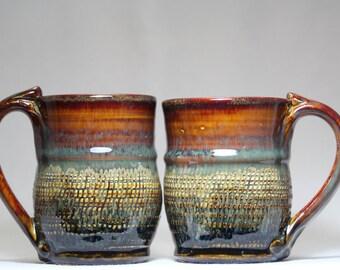 10oz handmade pottery mugs, two pottery mugs, mug set
