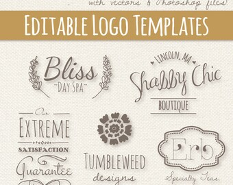 Editable Logo Templates Set 2 // Fully Layered PSD // Editable Vector EPS  // Photoshop Template // Editable Logo Design // Premade Pre made