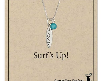 Sterling Silver Surfboard Pendant Necklace with Blue Riverstone Bead | Ocean Jewelry, Summer Necklace, Beach Charm, Surfer Girl, Hawaii