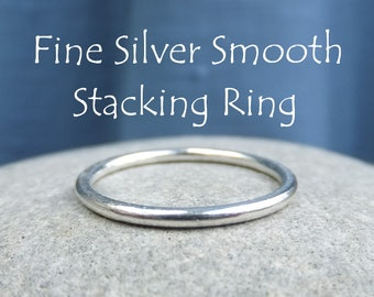 Fine Silver Stacking 1.5mm Ring - SMOOTH - Bright Silver or Oxidised - Shiny Skinny Stacker - Handmade Metalwork Jewelry