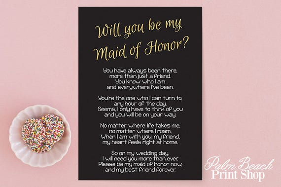 Will You Be My Maid Of Honor Printable Black And Gold Glitter
