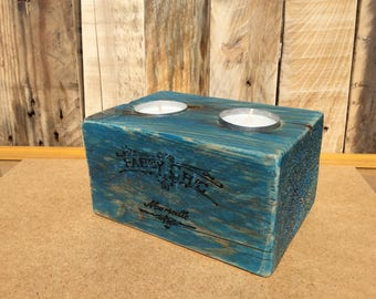 Candle holder metal blue wood