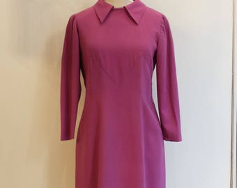Vintage Purple/pink jersey dress with collar