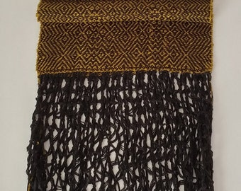 Handwoven Scarf with Macrame Fringe