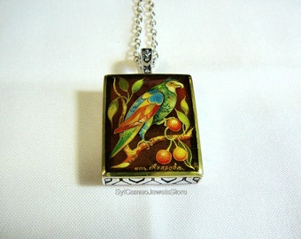 Hand Painted Bird Cameo Pendant Sterling Silver Necklace Art Jewelry SylCameoJewelsStore
