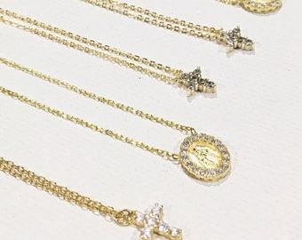 Tiny Virgin Mary Necklace•Gold Virgin Mary Necklace•Virgin Mary Chain•Gold Coin Necklace•Tiny Medallion Necklace•Tiny Gold Medallion