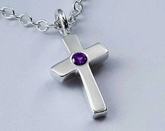 Amethyst Cross Necklace Pendant in Sterling Silver - Sterling Silver Amethyst Necklace, Sterling Silver Cross Necklace, Cross Pendant