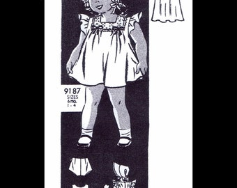 Dress Frock Sewing Pattern ~1 Sunsuit Playsuit Play Suit Slip Panties Bonnet BABY Girls Toddler REPRODUCTION Marion Martin Mail Order # 9187