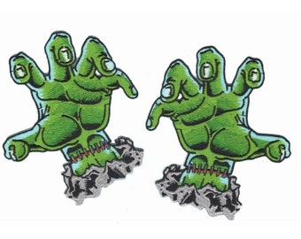 Green Frankenstein Hands out of the Grave Kreepsville Embroidered Iron On Patch