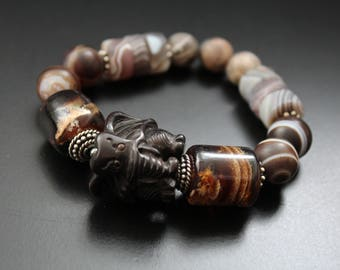 RESERVED for Anita - Big carved wood elephant and gemstone bracelet, agate and moonstone bracelet, safari tribal bracelet, boho bracelet