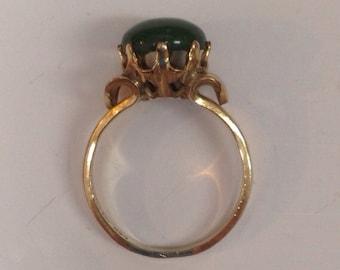 Vintage 10K gold fillled jade ring / women's size 8