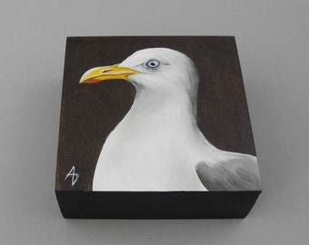 Sea Gull painting - shore bird seaside art - seagull art miniature - beach house decor - tiny painting - nautical marine art block