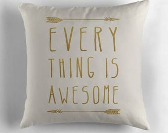 Everything is Awesome typography pillow cover- modern- beige-gold- words- inspiring quote- uplifting words- home decor