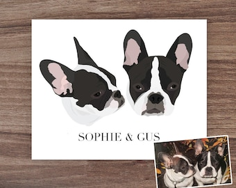 Custom Two Dog Portrait, Custom Three Dog Portrait, Custom Dog Art, Custom Pet Portrait, Pet Mom Gift, Personalized Pet Gift, Dog Lover Gift
