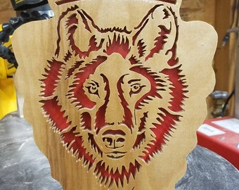 Wolf / husky portrait out of wood