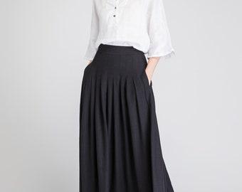 black skirt, linen skirt, long skirt, pleated skirt, circle skirt, high waisted skirt, skirt with pockets, summer skirt, elegant skirt 1890