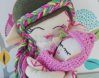 Handmade doll, Elf doll, fairy doll, pixie doll, doll with baby, keepsake doll, fabric doll, heirloom doll, cloth doll, rag doll, ooak doll.