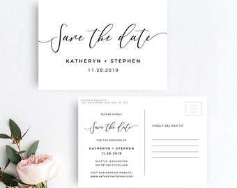 Save The Date Postcard Printable Template, Save The Date Postcard Printable Template, DIY Save The Date Postcard Template Modern Calligraphy