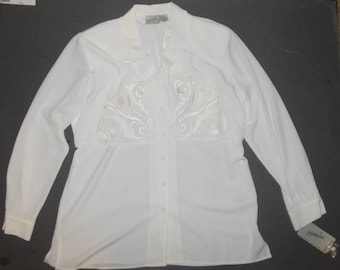 White Blouse Top Shirt Button Front L Jacqueline Ferrar Floral Embroidery Mint with Tag NOS